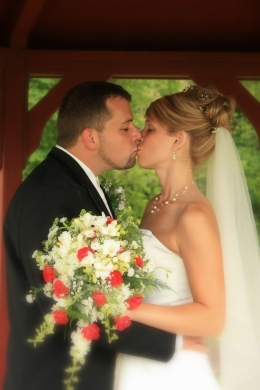 A kiss under the gazebo